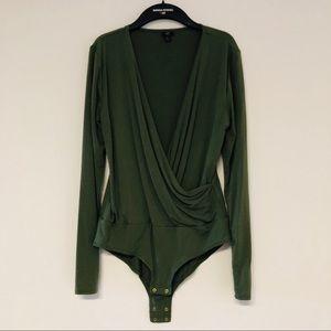 J. Crew Long Sleeve Olive Green Bodysuit
